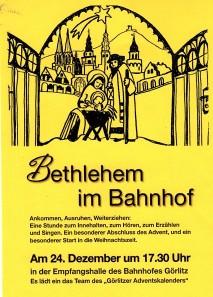 Einladungskarte zum Bahnhof Görlitz an Heiligabend mit Eintopf & Tee